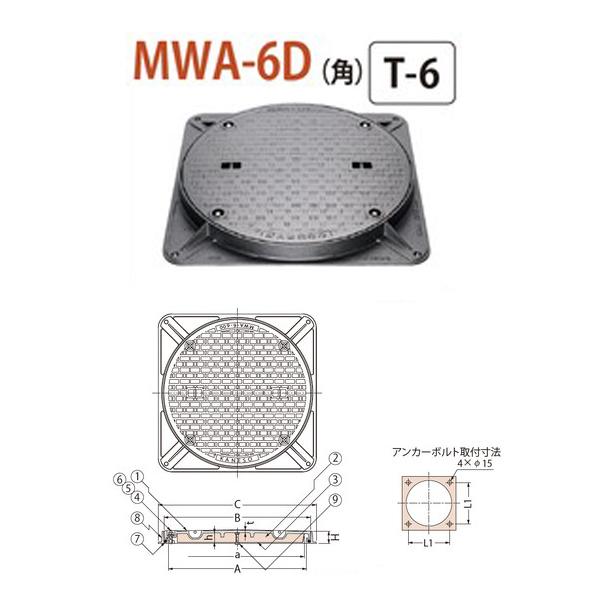 カネソウ マンホール・ハンドホール鉄蓋 断熱形 密閉形(防水・防臭形) ボトルロック式 角枠 MWA-6D(角) 600 T-6