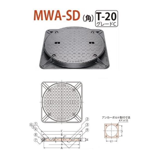 カネソウ マンホール・ハンドホール鉄蓋 断熱形 密閉形(防水・防臭形) ボトルロック式 角枠 MWA-SD(角) 600 T-20 グレードC