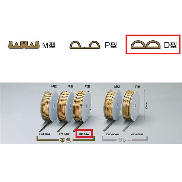 光 戸当りクッションテープ ドラム巻 W80タイプ D型 KD8-50W 6×9mm×50m巻