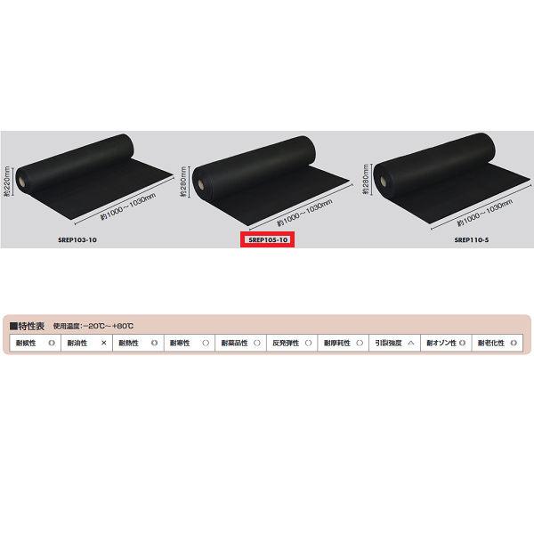 光 EPDM スポンジロール巻(W1000mmタイプ) SREP105-10 約5mm×1000mm×10m巻