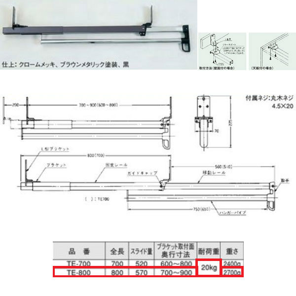 川喜金物 TE型 スライドコートハンガー(ツルスター) 800mm TE-800