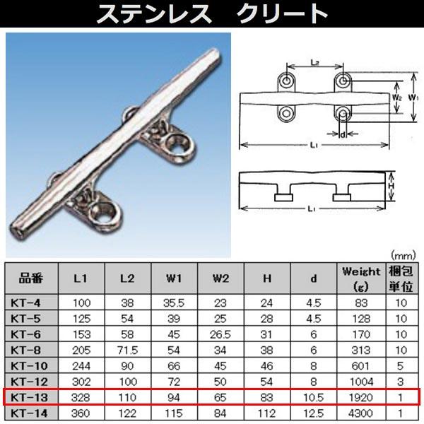 水本機械 クリート ステンレス金具 KT-13 NO.2169
