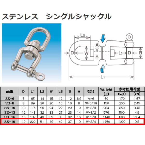 水本機械 シングルシャックル ステンレス金具 SS-19 NO.303