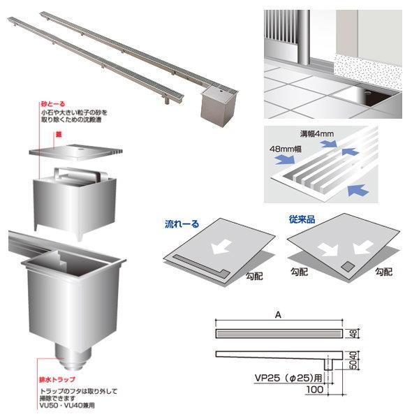 サヌキ 流れーる 玄関用排水ユニット NL59515 排水トラップなし 寸法:48X90X1500mm