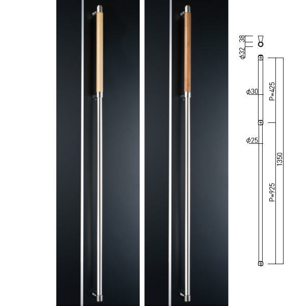 神栄ホームクリエイト 室内 手すり 抗菌 防静電 鏡面/クリアー GHBS2213-C-1350