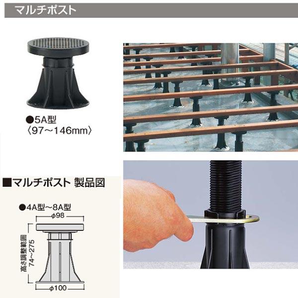 フクビ 屋外用樹脂製支持脚 マルチポスト 5A型 MPST5A 100個
