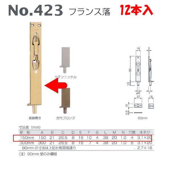 ベスト フランス落 NO.423 黄銅磨き 150mm 1箱(12本入)