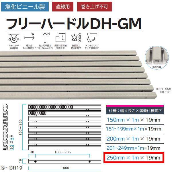 ミヅシマ工業 塩化ビニール製 フリーハードルDH-GM 431-1141 H19・#250 幅250mm×長さ1m×溝蓋仕様高さ19mm