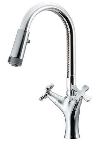 カクダイ 2ハンドル混合栓(シャワーつき) 150-450