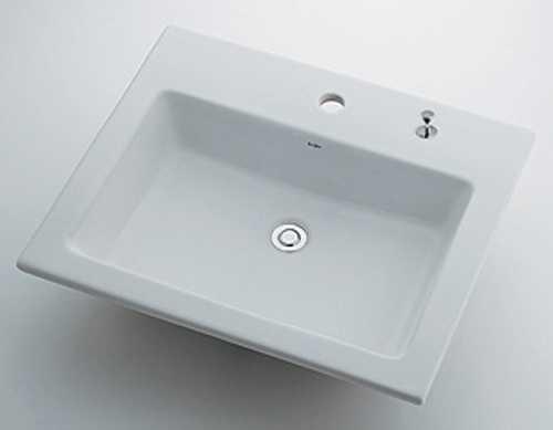 カクダイ 角型洗面器 1ホール・ポップアップ独立つまみタイプ 493-008H