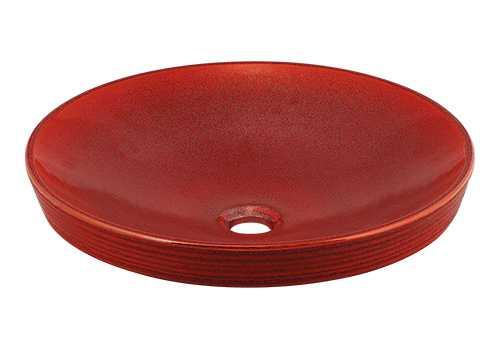 カクダイ 丸型洗面器 鉄赤 493-014-R