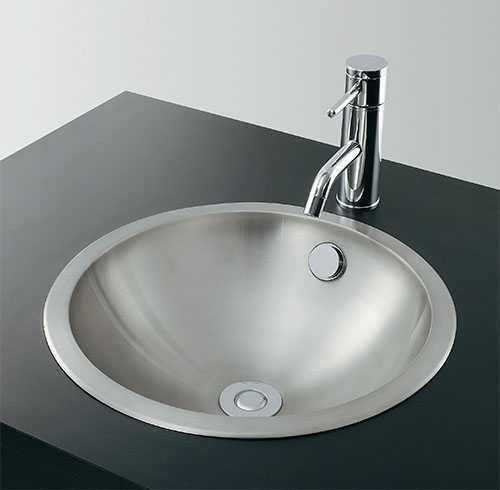 カクダイ ステンレス丸型洗面器 ヘアライン 493-042