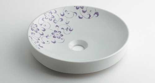 カクダイ 丸型手洗器 ラベンダー 493-097-PU