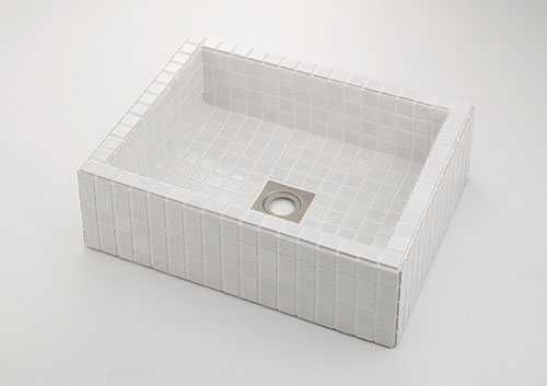 カクダイ 角型洗面器 ホワイト 493-143-W