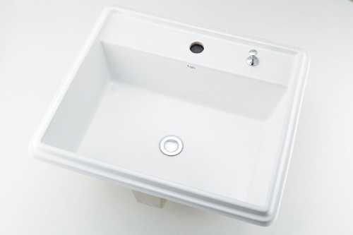 カクダイ 角型洗面器 1ホール・ポップアップ独立つまみタイプ 493-151H