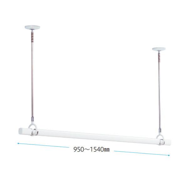 川口技研 ホスクリーン 室内用物干 スポット型SPCL-W 2本と竿QL-15-Wのセット品 QSCL-15-W