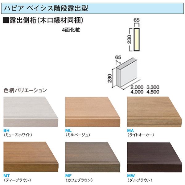 大建 ハピア ベイシス階段露出型 露出側桁(木口縁材同梱)4500 CR832-K51