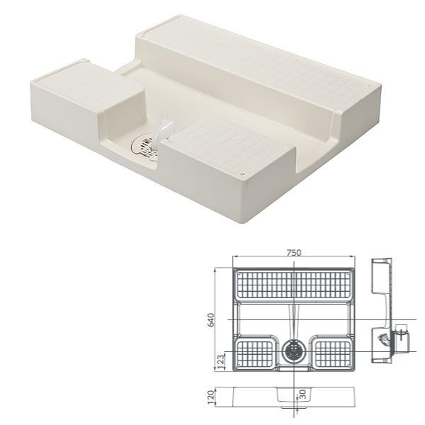 テクノテック かさ上げ防水パン イージーパン TPD750-CW1 W750×D640×H120 アイボリーホワイト