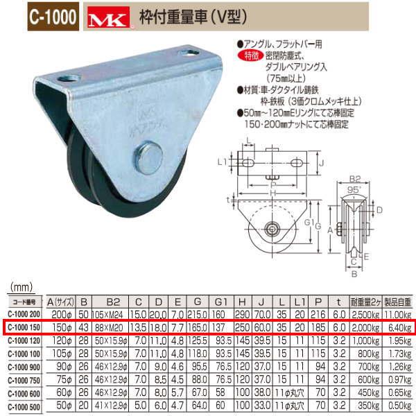 丸喜金属 MK 枠付重量車 V型 C-1000 150