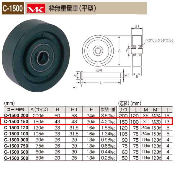 丸喜金属 MK 枠無重量車 平型 C-1500 150