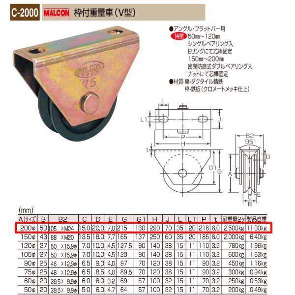 丸喜金属 MALCON 枠付重量車(V型) C-2000 200