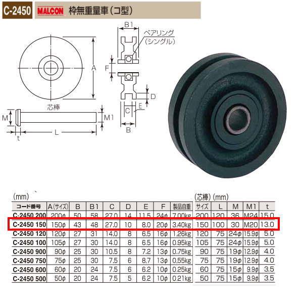 丸喜金属 MALCON 枠無重量車(コ型) C-2450 150