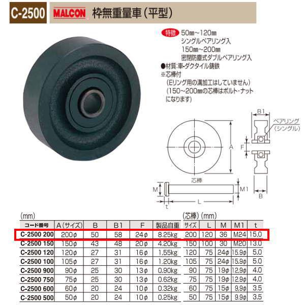 丸喜金属 MALCON 枠無重量車 平型 C-2500 200