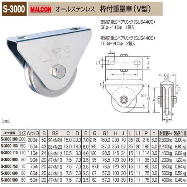 丸喜金属 MALCON 枠付重量車 V型 S-3000 150