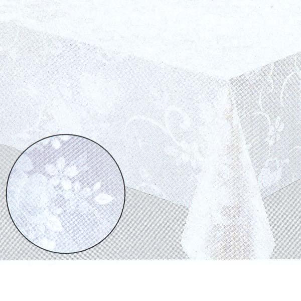明和グラビア テーブルクロス ロール物 MGフィルム ホワイト ダマスク 0.15mm厚 120cm幅×30m巻 MG-6501 016118