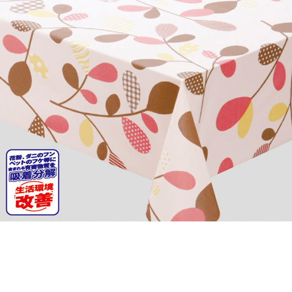 明和グラビア アレル物質吸着分解 テーブルクロス ピンク 105cm幅×20m巻 MGA-04 185296