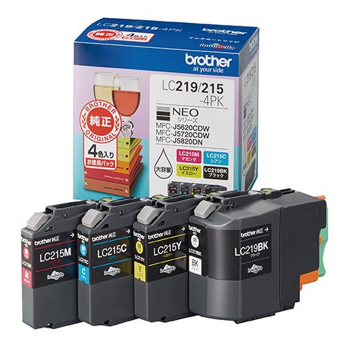 ブラザー販売 インクカートリッジ 4色パック LC219/215-4PK 1パック