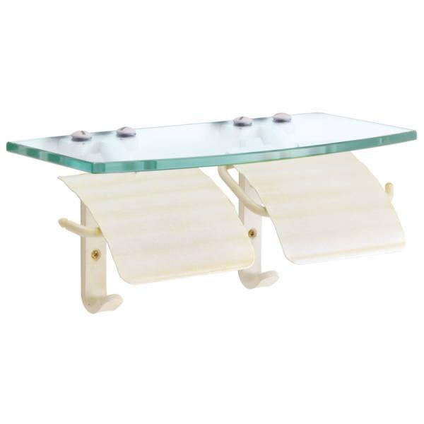 上質なサニタリーアイテム TPHガラスシェルフW トイレットペーパーホルダー WAB 真鍮古白色仕上げ W300×D130×H130・134mm GI4-640715