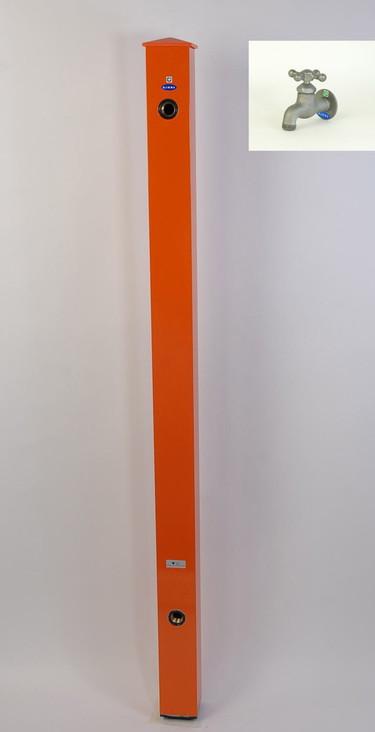 カラーアルミ立水栓蛇口付 クロム十字 オレンジ GM3-AL206O