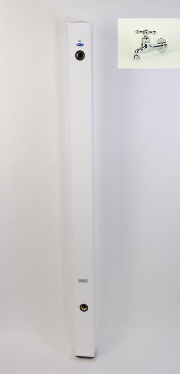 カラーアルミ立水栓蛇口付 メッキング十字 ホワイト GM3-AL207W