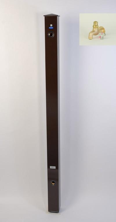 カラーアルミ立水栓蛇口付 キー付真鍮 ブラウン GM3-AL212C