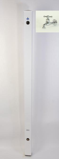 カラーアルミ立水栓ロング蛇口付 ロング蛇口付十字メッキ ホワイト GM3-AL307W