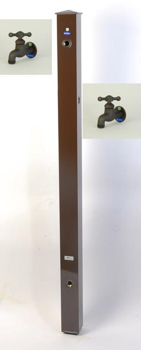 カラーアルミ立水栓補助蛇口仕様 ブロンズ十字 ブラウン GM3-AL502C