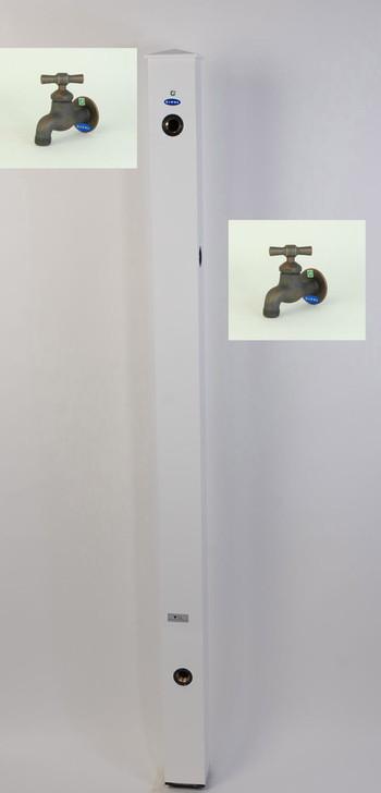 カラーアルミ立水栓補助蛇口仕様 ブロンズI字 ホワイト GM3-AL503W