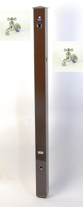 カラーアルミ立水栓補助蛇口仕様 サテン十字 ブラウン GM3-AL505C