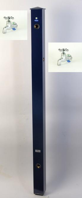 カラーアルミ立水栓補助蛇口仕様 十字鋳肌メッキ ネイビー GM3-AL508N