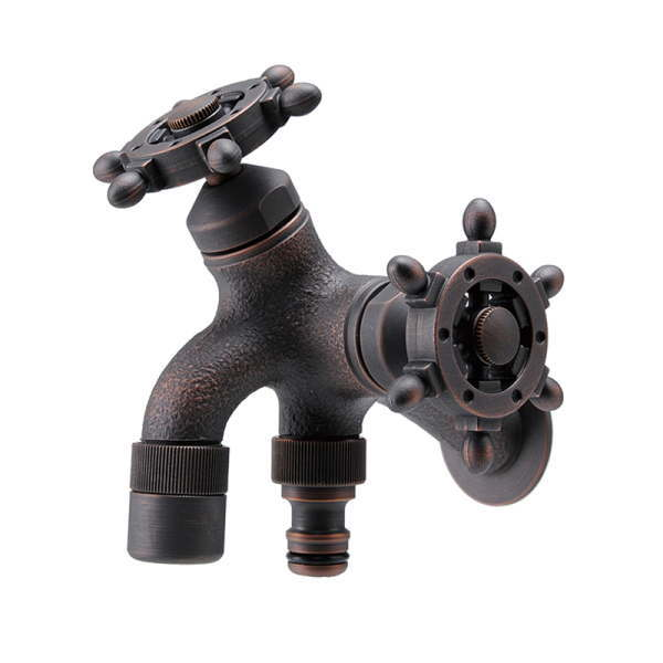 T14型耐寒水栓 二口横水栓ラダーハンドル(ブロンズメッキ) HV3-T16F-RZ
