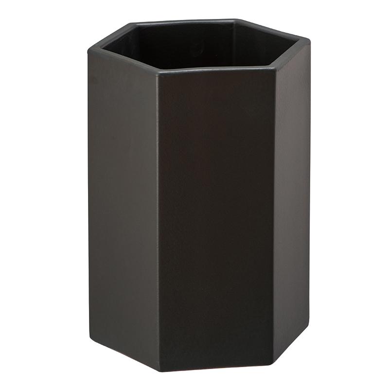 六角鉢 L 黒マット MZ3-07HPB