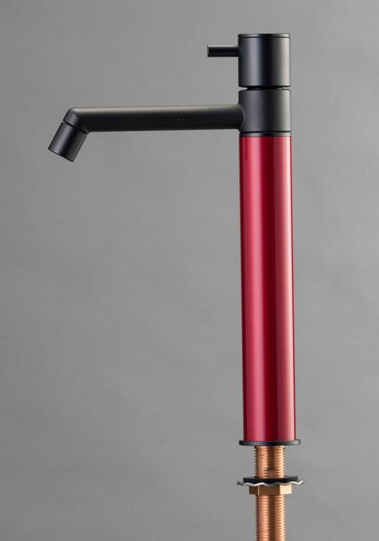 デザイン水栓 マニル ブラックめっき ロング ワインレッド TK4-1LKWR