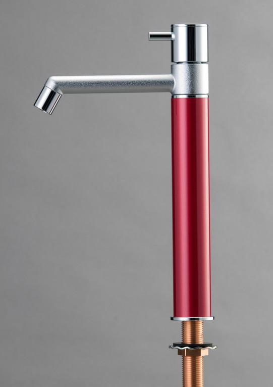 デザイン水栓 マニル クロムめっき ロング ワインレッド TK4-1LNWR