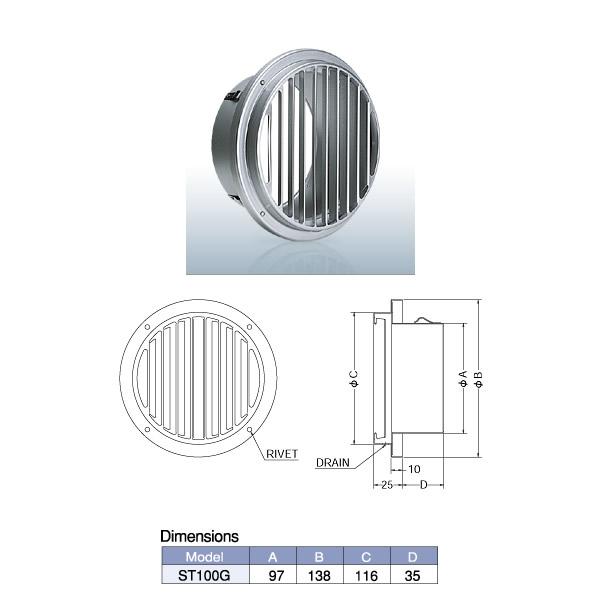 外壁用アルミ製換気口 西邦工業 完売 ベントキャップ NEW ARRIVAL 薄型 ST-G ST100G 縦ガラリ 低圧損
