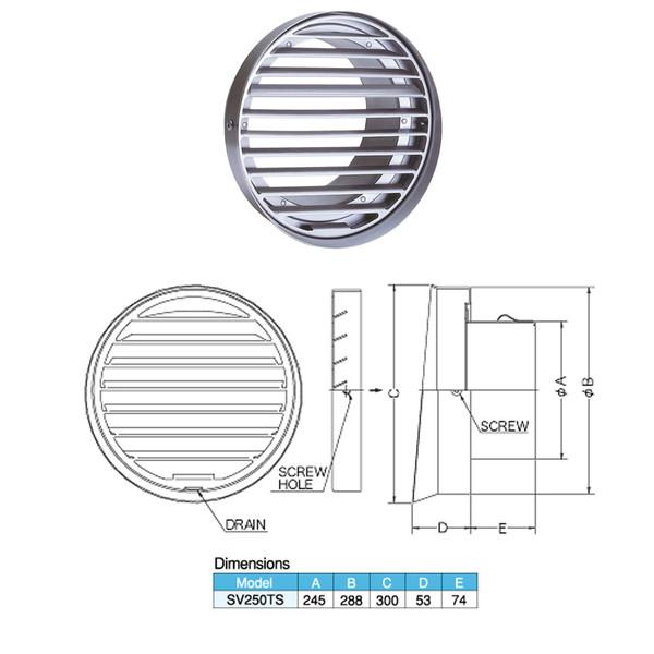 西邦工業 外壁用ステンレス製換気口 フラットグリル 内向ガラリ型 水切り付 低圧損 大口径 SV-250TS