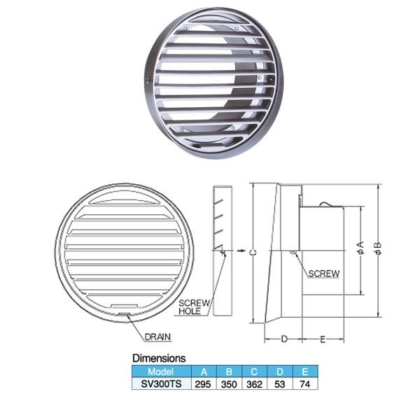 西邦工業 外壁用ステンレス製換気口 フラットグリル 内向ガラリ型 水切り付 低圧損 大口径 SV-300TS