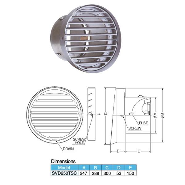 西邦工業 外壁用ステンレス製換気口 フラットグリル 内向ガラリ型 水切り付 防火ダンパー付 SVD-250TSC