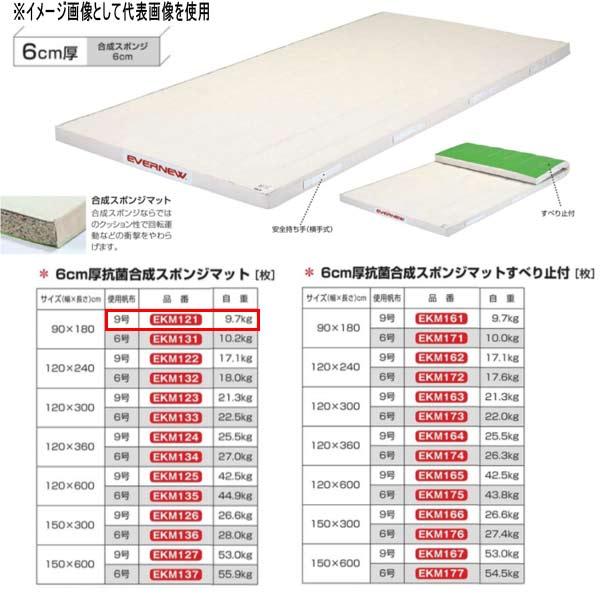エバニュー 6cm厚抗菌合成スポンジマット EKM121 幅90×長180cm 9号帆布
