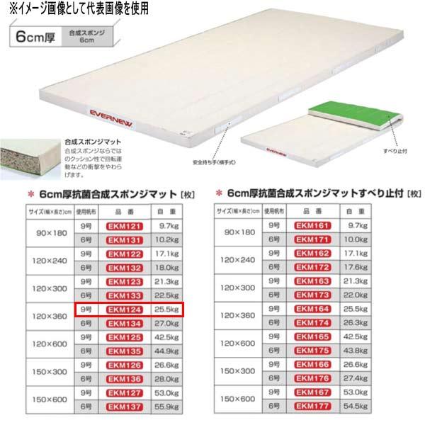 エバニュー 6cm厚 抗菌合成 スポンジマット EKM124 幅120×長360cm 9号帆布